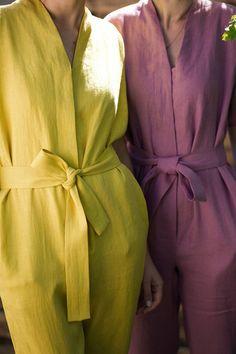 Lime Yellow Linen Kimono Jumpsuit/Short Sleeve Linen