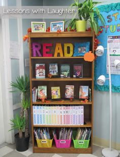 I like the simplicity of this... it would keep students from crowding around on a shelf if I had a few of these. Awesome blog!!