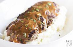 Skillet Meatloaf with Pan Gravy. Similar to Salisbury or hamburger steak. ♥ Coco & Ash