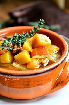 Slow Cooker Winter Squash Beef Stew | from willcookforsmiles.com #slowcooker #beefstew