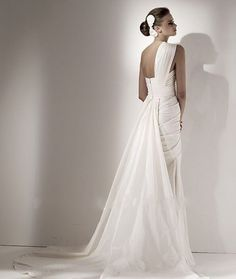 Wholesale a line One-Shoulder empire waist pleats wrinkle elie saab long Wedding Dress bridal gown ZWD209 [OSALUVU21] - US$139.00 : luvudress