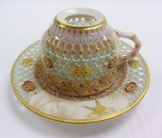 Royal Worcester 1876 Cup Saucer Demitasse Set Porcelain RETICULATED Double Wall #RoyalWorcester #Reticulated