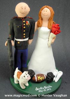 "Marine's Wedding Cake Topper  OK Newleyweds!!! ""Fall in!!!..Extend Rank, MARCH!!  ...to that special sweetheart who you knew was the 1 from the start...!     this marine is decked out in his finest dress blues, their high school football and her cheerleading pom poms are on display,...and of course the trusty bulldog who runs an awesome security detail on his own   :-)  $240 #marine#army#soldier#military#wedding#cake#topper#custom#air force#dress blues#uniform#bride#groom#armed forces"
