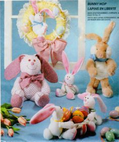 EASTER  Soft Stuffed Rabbit Flop Ear Bunny by FindCraftyPatterns, $8.00