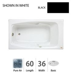 """View the Jacuzzi CET6036 ALR 2XX 60"""" x 36"""" Drop In Pure Air® Bath Tub with Left Drain and Right Hand Pump from the Cetra® Series at FaucetDirect.com."""