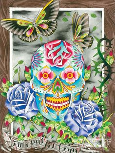 Day Of The Dead Art Butterflys And Skulls