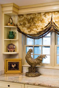 Kitchen window treatment From: Green Door Interiors, please visit French Country Kitchens, French Country Cottage, French Country Style, French Country Curtains, Tuscan Kitchens, Country Blue, French Kitchen, Country Valances, Country Charm
