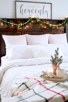 Farmhouse Christmas Bedroom Ideas - Christmas Bedroom Decor - Garland on Headboard - Sign Above Christmas Bed - Christmas Breakfast Tray - Christmas Plaid Throw Pottery Barn decorations bedroom Cozy Farmhouse Christmas Bedroom - SUGAR MAPLE notes Farmhouse Bedroom Decor, Farmhouse Christmas Decor, Cozy Christmas, Christmas Breakfast, Pottery Barn Christmas, Beautiful Christmas, White Christmas, Christmas Ideas, Winter Bedroom Decor