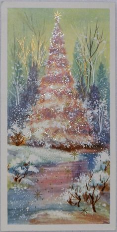 743 60s Rust Craft Pink Glittered Tree Vintage Christmas Greeting Card | eBay