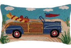 """""""Going Places"""" Navy Blue Convertible Roadster - 12"""" x 22"""" Wool Hooked Pillow"""