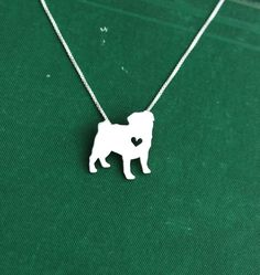 Pug necklace, sterling silver hand cut pendant, with heart, tiny dog breed jewelry