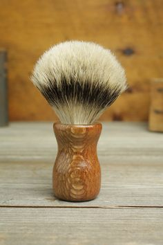 Leopardwood Truncheon style shaving brush with Silvertip Badger by Bare Knuckle Barbery