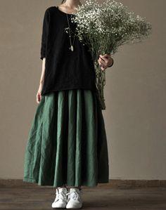 Linen Skirt - Green - Women Dress - Women Skirt(R) on Etsy, Mori Fashion, Hijab Fashion, Fashion Dresses, Womens Fashion, Long Skirt Fashion, Fashion Fashion, Fashion Trends, Women's Dresses, Linen Dresses