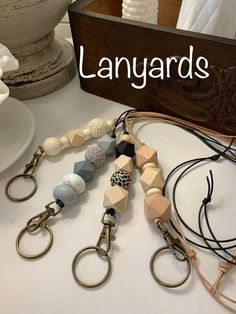 Diy Mask, Diy Face Mask, Beaded Lanyards, College Gifts, Beaded Garland, Cute Faces, Wooden Beads, Go Shopping, Leather Cord