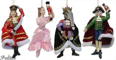 Nutcracker ornaments -- the Prince, Clara/Marie, the Mouse King, and Godfather Drosselmeyer Christmas Tale, Noel Christmas, Winter Christmas, Christmas Themes, Christmas Tree Ornaments, Christmas Crafts, Christmas Decorations, Xmas, Nutcracker Ornaments