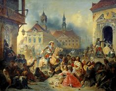 Tsar Peter I the Great Alexseyevich Romanov (9 Jun 1672–8 Feb 1725 age 52) Russia, Reign 1682-1725,  in Painting by Nikolay Sauerweid in 1859 shows him trying to pacify his marauding troops after retaking Narva City on the Baltic Coast from Sweden in 1704 during Great Northern War. Peter I the Great is Child of Tsar Alexei I (1629-1676) & 2nd wife Nataliya Naryshkina (1651-1694).