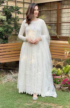 Beautiful Dresses Worn by Pakistani Showbiz celebrities on Eid ul Fitr 2020 | Daily InfoTainment Pakistani Fashion Casual, Pakistani Dresses Casual, Pakistani Bridal Dresses, Pakistani Dress Design, Casual Dresses, Pakistani White Dress, Casual Clothes, Desi Wedding Dresses, Eid Dresses
