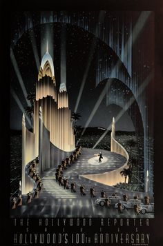 """Hollywood 100th Anniversary"" Fine art poster by R. Hoppe. Image size 21 x 30 inches. Paper size 24 x 36 inches."
