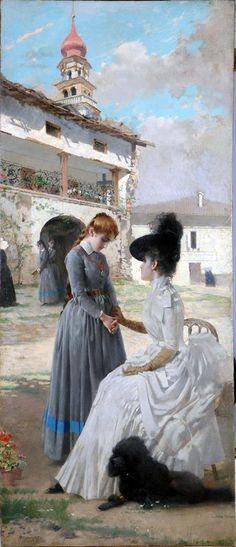 Vittorio Matteo Corcos - Visita al convento 1887