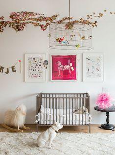 C Magazine - nurseries - whimsical nursery, framed hermes scarf, art over crib, art above crib, sheep rocker, rocking sheep, round black sid...