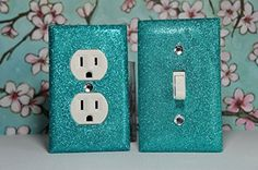AQUA Glitter Switch Plate Outlet Covers SET OF 2. ALL Styles Available! SwankElectric http://www.amazon.com/dp/B00NKXGKKI/ref=cm_sw_r_pi_dp_-d.4ub1F9AVBX
