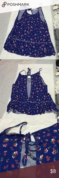 Selling this Blue Floral Open Back Top on Poshmark! My username is: elicaluna. #shopmycloset #poshmark #fashion #shopping #style #forsale #Candie's #Tops