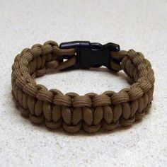 Paracord bracelet with a side release buckle  My 10 year old Son and his friends are into these right now. Finally, something I can make with him that he REALLY likes :)