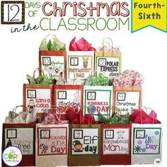 Impress your principal, parents, and even yourself as students engage in both fun and learning right up until the last bell rings before Winter Break! 12 Days of Christmas in the Classroom. Swap out a couple for nativity and Jesus 😊 Preschool Christmas, Noel Christmas, 12 Days Of Christmas, Christmas Countdown, Winter Christmas, Christmas Books, Christmas Writing, Christmas Music, Winter Fun