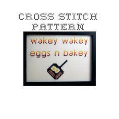 DIY Wakey Wakey Eggs n Bakey - .pdf Original Cross Stitch Pattern - Instant Download  $4.00 USD