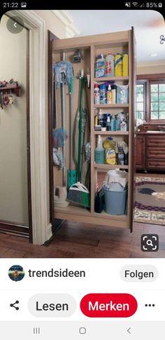 Broom Cabinet, Broom Storage, Mops And Brooms, Ideas Para Organizar, Room Closet, Trends, Bathroom Medicine Cabinet, Laundry Room, Ikea