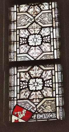 Altenberg Cathedral, a colourless window in the style known as Grisaille with a small heraldic motif