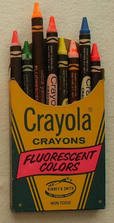 Box of 8 Vintage CRAYOLA 1960s FLUORESCENT CRAYONS.  Groovy, baby.