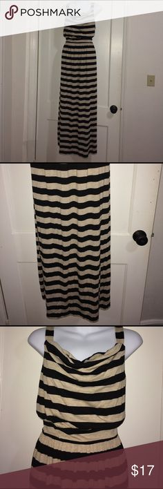 Metaphor striped cowl neck maxi dress size large Black and Tan stripe maxi dress. Size large. The brand is metaphor. Pretty cowl neckline and goes in at the waist. Metaphor Dresses Maxi