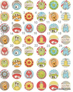 Cute Monsters Space Alien Childrens Pinback Button Flatback Badge Magnet  Party Favors 1 inch set of 10