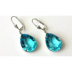 Aquamarine Drop Earrings Aquamarine Teardrop Earrings Blue Rhinestone... ($18) ❤ liked on Polyvore featuring jewelry and earrings