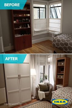 The IKEA Home Tour Squad added plenty or organization and storage to their spare bedroom makeover by using space saving tips. Things like utilizing vertical space and a desk and nightstand in one, helped to create a beautiful bedroom space.