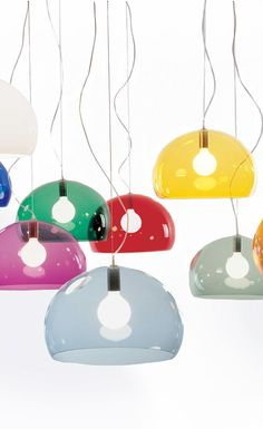 Colorful FLY Hanging Lamps by Kartell