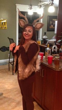 Homemade deer costume! Ears and tail are made from real rabbit fur. Antlers are also real!