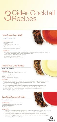 Spice up your Fall cider experience with three Teavana tea cocktail recipes featuring Spice Apple Cider Rooibos Tea, Poached Pear Cider Herbal Tea and Mulled Pomegranate Cider Herbal Tea. Cocktail And Mocktail, Cocktail Ideas, Cocktail Recipes, Making Mead, Cider Making, Pear Cider, Spiced Apple Cider, Tea Recipes, Fall Recipes