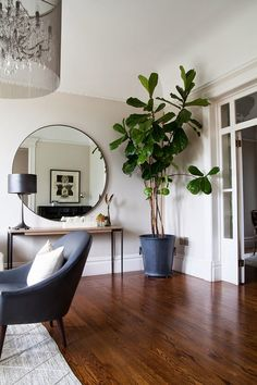 The Makerista: San Francisco Victorian: The Updates, beautiful house tour, very understated and beautiful, that circle mirror is killing me