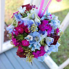 Kissing ball for the flower girl!  #thefloralcottageflorist #kissingball #flowergirl #sweetwilliam #delphinium