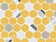 Bio Baumwolle Hexagon gelb von *werkundstoff für Selbermacher auf DaWanda.com