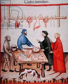 Nova 2644 fol.77r Butcher's shop, sale of brains, from Tacuinum Sanitatis Codex Vindobonensis (vellum), Italian School, (14th century) / Osterreichische Nationalbibliothek, Vienna, Austria / Alinari / The Bridgeman Art Library