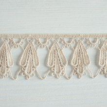 #Organic #lace #trim  48 mm wide natural ecru cotton colour undyed, long fruit drop and link www.lancasterandcornish.com #bridal #wedding #trim #lampshade #dressmaking #sewing #millinery #lingerie