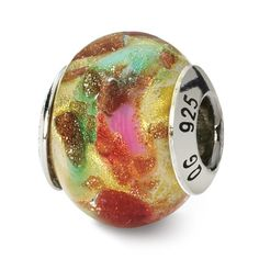 Italian Sterling Silver Reflections Multicolor Murano Bead (4mm Diameter Hole)