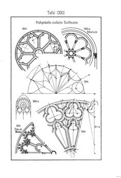 Gothic window details - From a German book on Gothic pattern construction. Sacred Architecture, Architecture Drawings, Classical Architecture, Architecture Details, Architecture Quotes, Gothic Pattern, Gothic Windows, Rose Window, Gothic Art