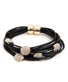 Black & Goldtone Austrian Crystal Sparkle Disc String Bracelet