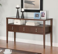 This #casual styled occasional group features a beveled #glass top with #storage drawers finished in a coffee brown. #mhf