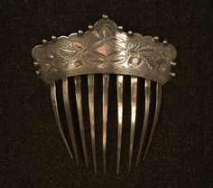 BRIGHT CUT STERLING SILVER HAIRCOMB, c. 1880