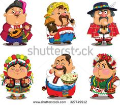 Cartoon Ukrainians . Funny, travesty cartoon. Characters. Ukrainians set. Isolated objects.  - stock vector